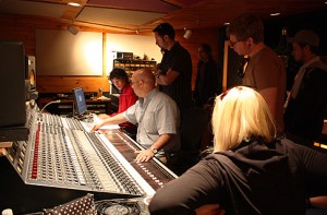 Group in a recording studio